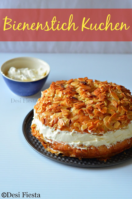 Bienenstich Kuchen (German Bee Sting Cake) - Eggless